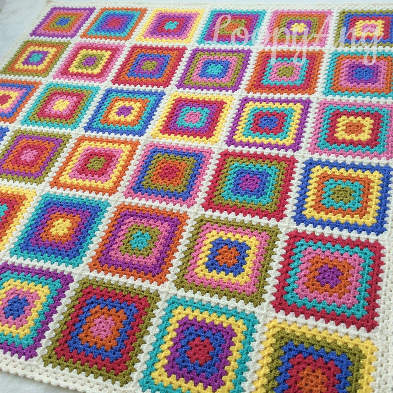 Retro Granny Blanket Colourful Squares Throw Crazy Colourburst