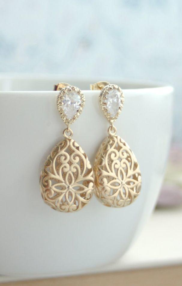 Gold Puffy Filigree Cubic Zirconia Ear Post Earrings Wedding