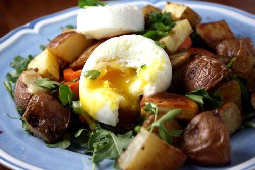 potatoes. artichokes. arugula. and a. poached egg.