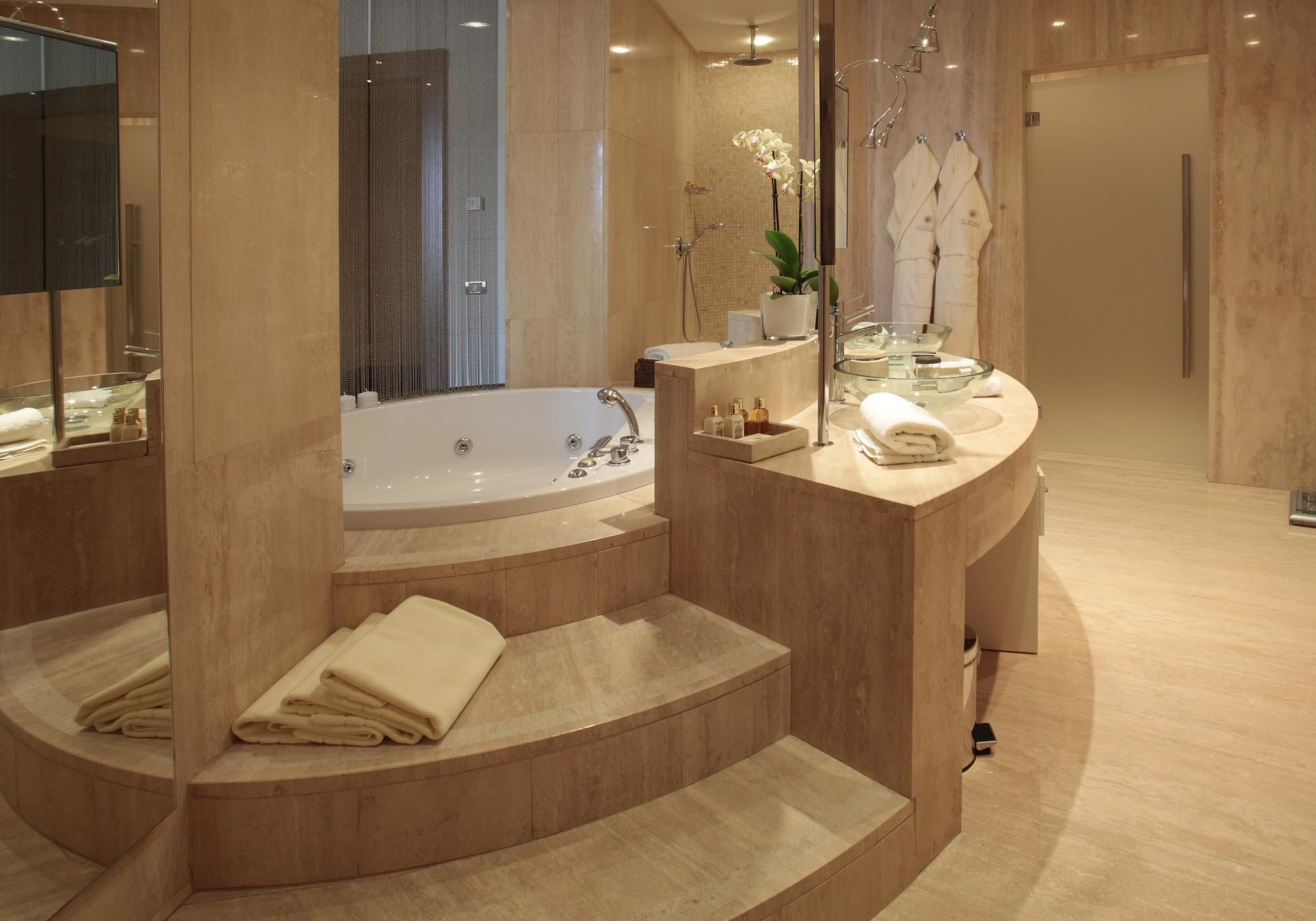 Bathroom Luxury Bathroom Style with Brown Tile Wall As Well