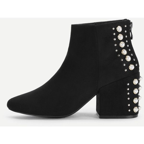 d2819c167453 SheIn(sheinside) Studded   Faux Pearl Back Ankle Boots ( 48) ❤ liked on  Polyvore featuring shoes