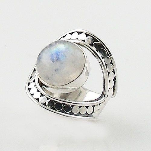 Moonstone Adjustable Sterling Silver Horse Shoe Ring