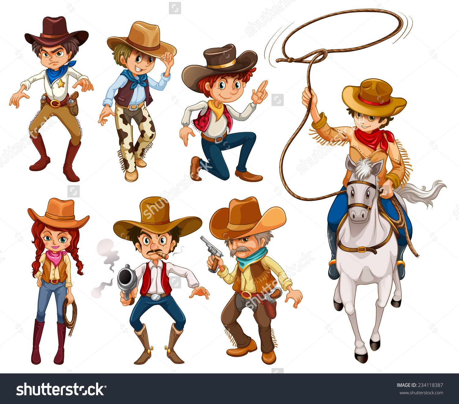 Illustration of different poses of cowboys