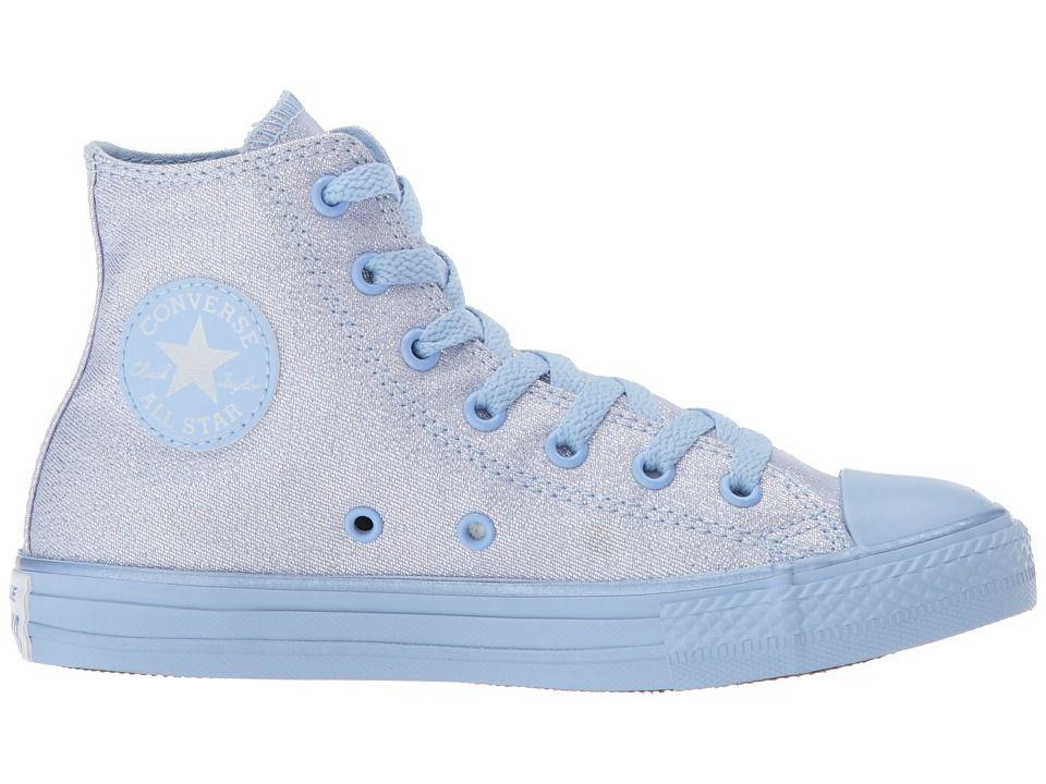 85c602fadc31 Converse Kids Chuck Taylor All Star Mono Shine Hi (Little Kid Big Kid)  Girls Shoes Blue Chill Blue Chill Blue Chill