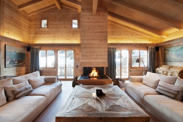 Wohnzimmer design gemutlich  wohnzimmer-gestaltung-chalet-stil-gemütlich-kaminofen-massivholz ...