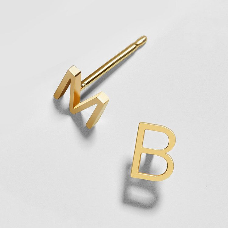 Gold Initial Stud Earrings Monogram Earrings,Initial Earring Posts 14K gold plated Alphabet Earring Post 925 Sterling Silver Posts