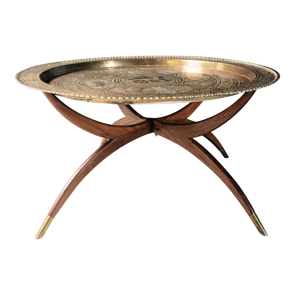 1950s Vintage Moroccan Brass Tray Table Brass Tray Table Brass