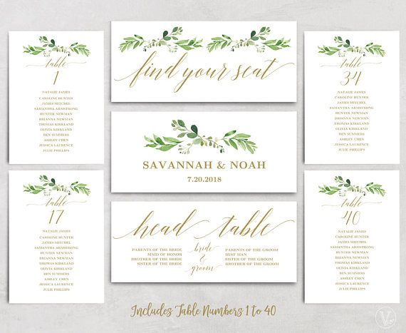 Greenery Wedding Seating Chart Template Header Signs And Seating Chart Wedding Template Free Wedding Invitation Templates Seating Chart Wedding