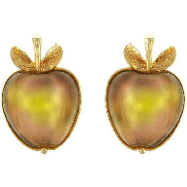 Eclectica Vintage 1960s Sarah Coventry Apple Clip-On Earrings, Peach ($99) ❤ liked on Polyvore featuring jewelry, earrings, earring jewelry, clip back earrings, leaf earrings, leaves jewelry and vintage clip on earrings