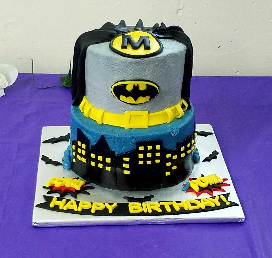 Batman Themed Birthday Cake All Buttercream with Fondant Decorations