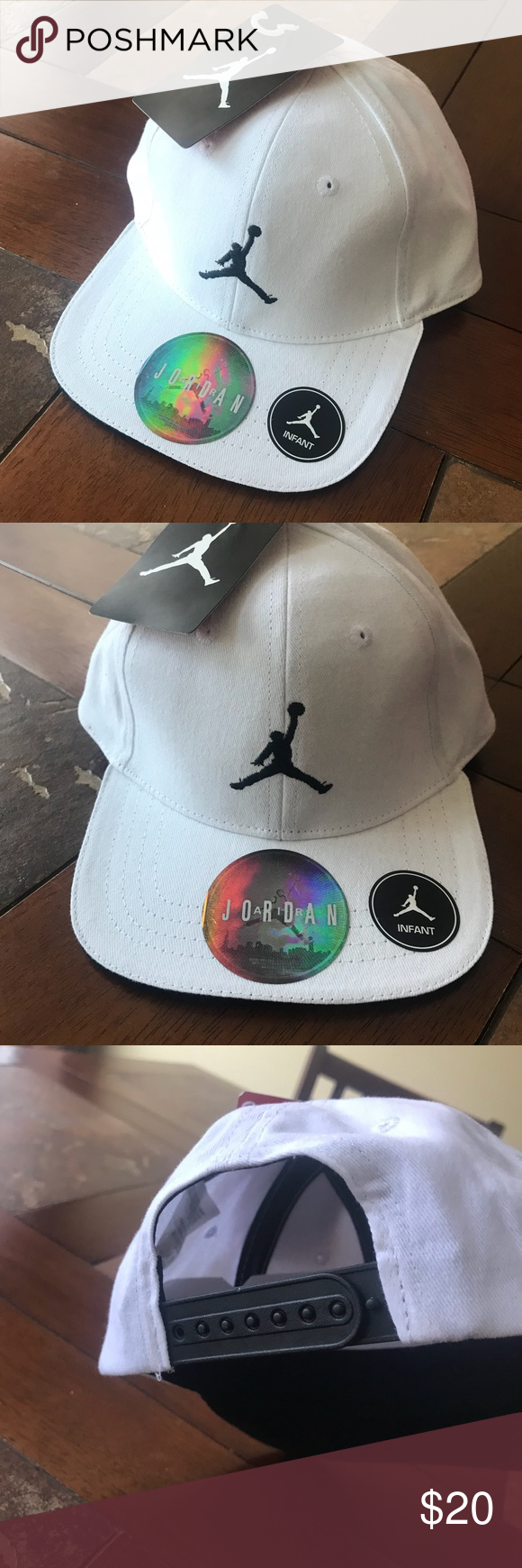 Baby Jordan hat 🧢 All white with black details - adjustable snap back  Jordan Accessories Hats c6a5cc8eeaf