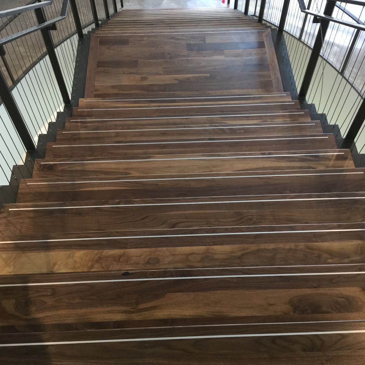 Walnut Stair Treads With Aluminum Accent