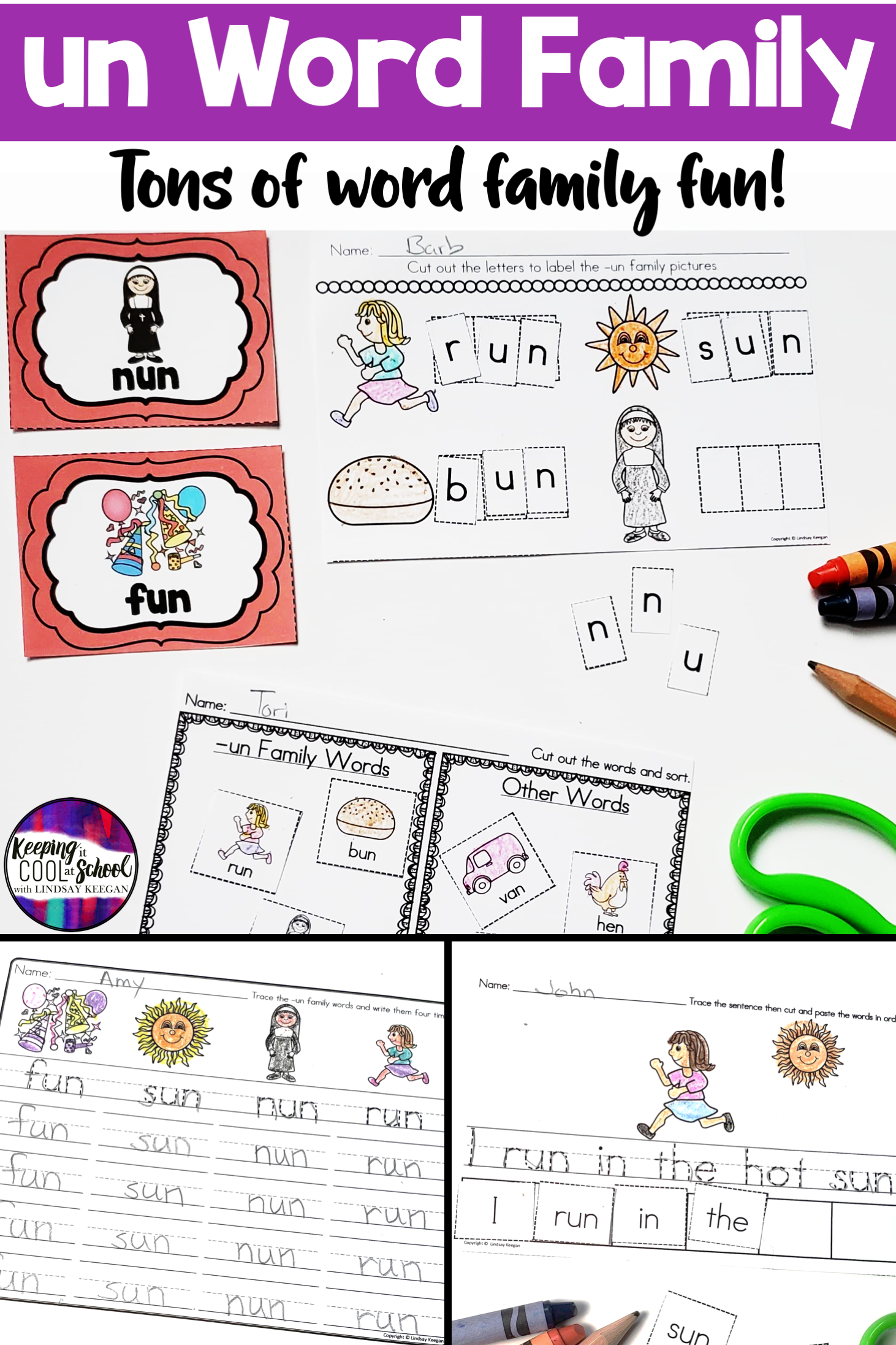 Un Word Family Worksheets