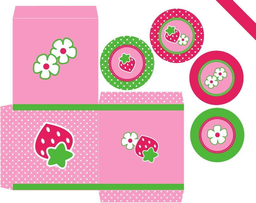 Strawberry Shortcake--free PDF pack (includes printable treat box, invitations, labels). SO cute!