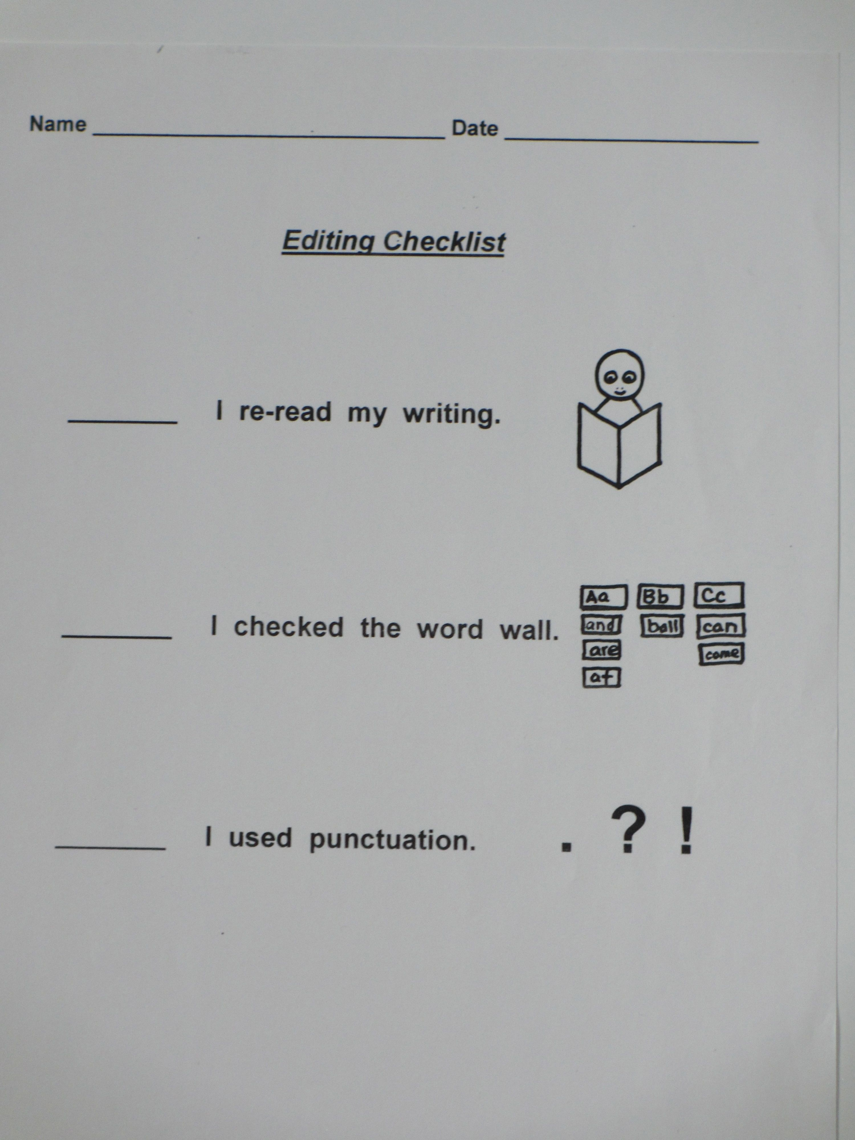 Charting the Common Core Part II Editing checklist