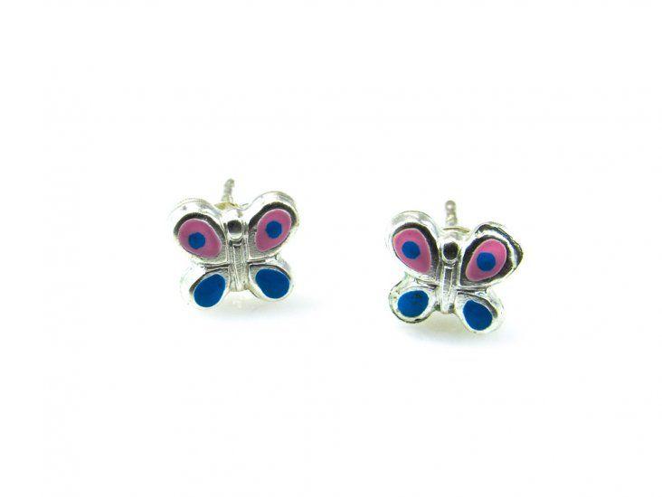 f22b49a2db59 Pendientes para niña mariposa de Plata con esmalte rosa y azul ...