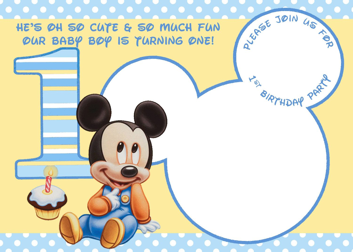 Cool Mickey Mouse 1st Birthday Invitations | Free ...