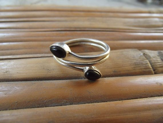925 sterling silver ring with 2 onyx stones di silveringjewelry