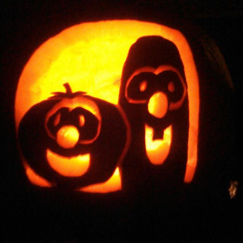 My hubby free hand carved our pumpkin bob and larry off of