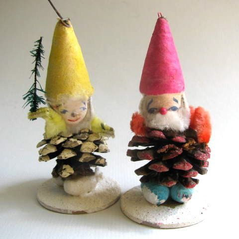 Pair Of Vintage Pine Cone Elf Christmas Tree Ornaments