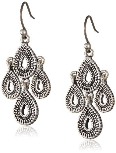 Lucky Brand Blue Moon Moveable Tribal Chandelier Earrings (Silver) Earring vK2Bfg