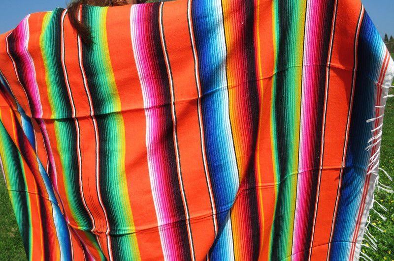 Mexikanische Ethno Decke Orange Ethno Handgewebt Mexiko Sarape