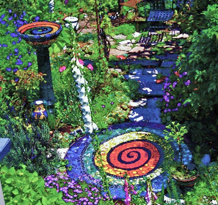 Colour garden sacred space pinterest gardens for Mosaic ideas for the garden