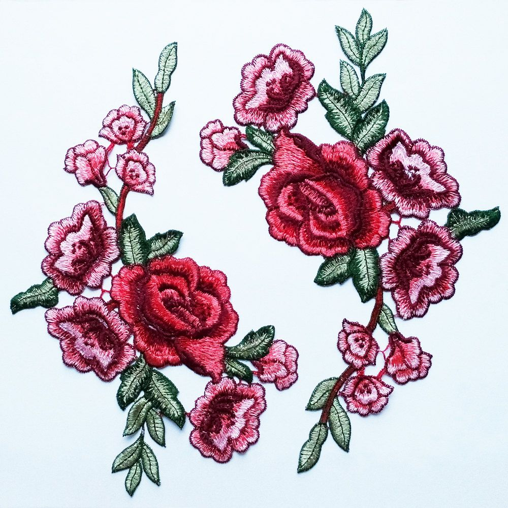 Great flower applique with red peony these are features a