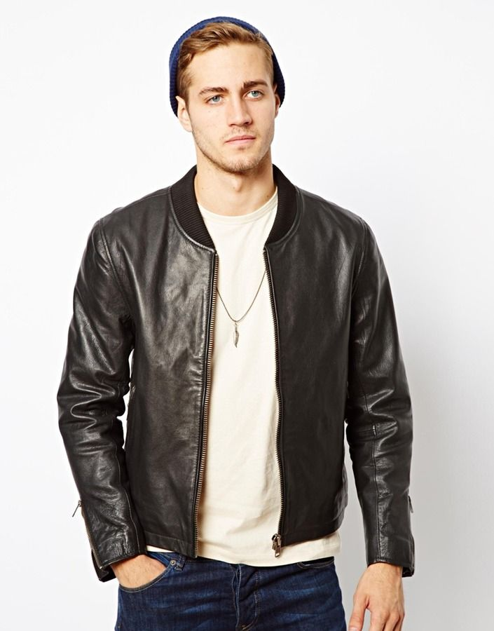 7e95c8dd845c Black Leather Bomber Jacket by Asos. Buy for  190 from Asos