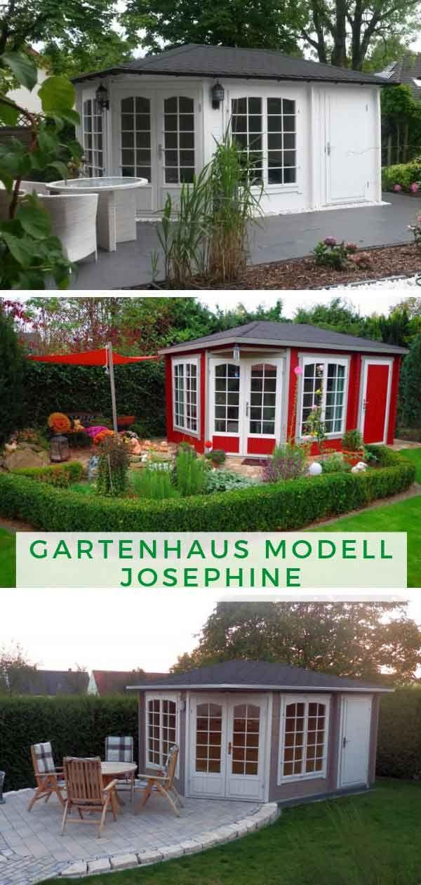 5Eck Gartenhaus Modell Josephine40 mit Anbau 5 eck