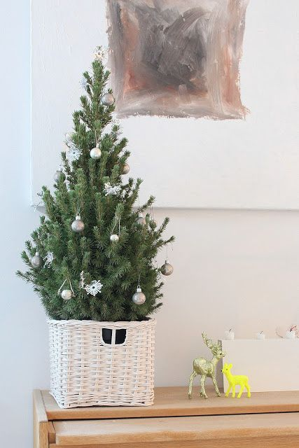 Little christmas tree with minimalistic decor Holidays and Parties