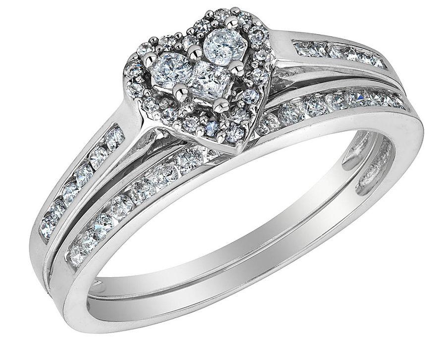 Populaire diamant coeur bague de fiançailles et de mariage bande 1/2 Carat  MN49
