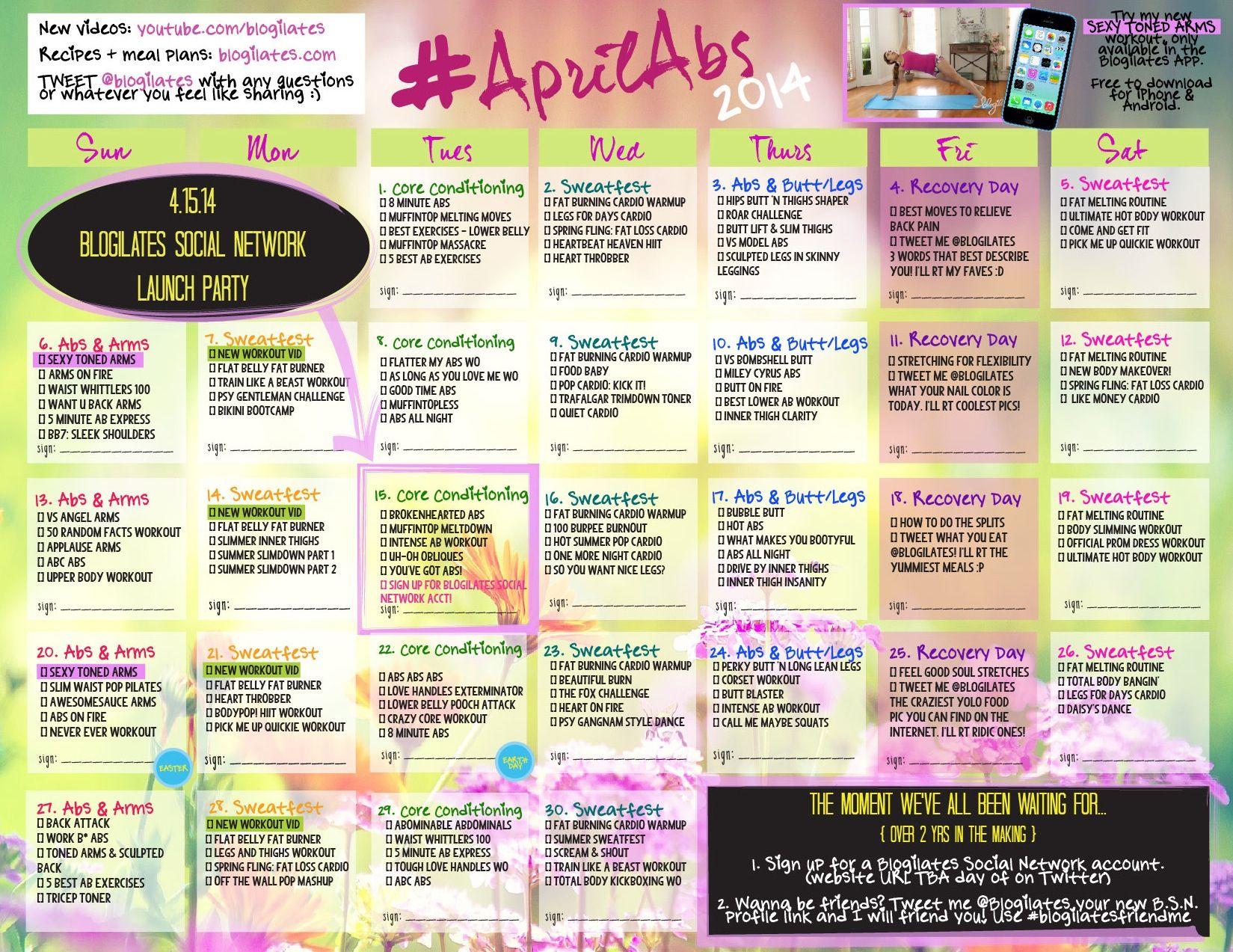 blogilates april abs workout milfit pinterest fitness