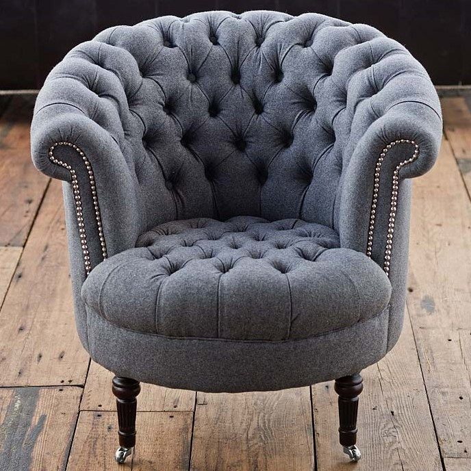 Marvelous Amazing Regina Andrew Gray Wool Tufted Tub Chair!