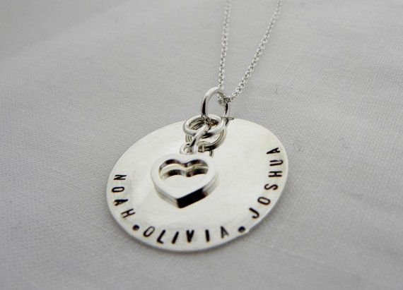 Hand Stamped Mothers Necklace by rusticcharmjewelry on Etsy