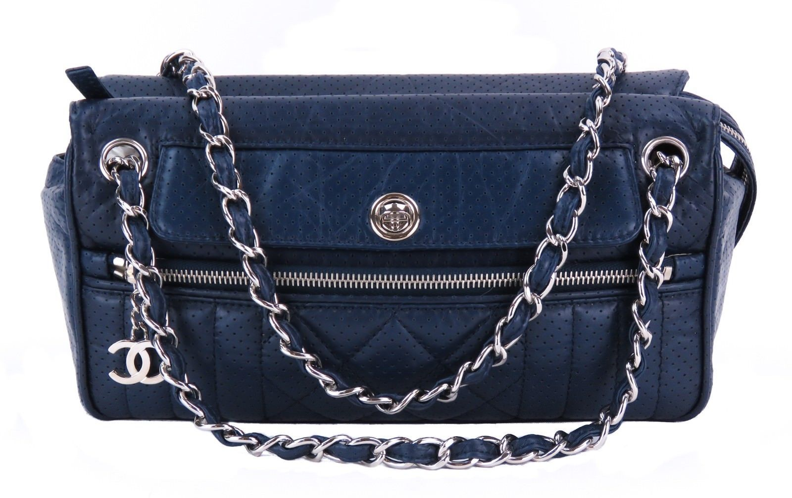 Chanel Navy Perforated Leather 50 S Shoulder Bag