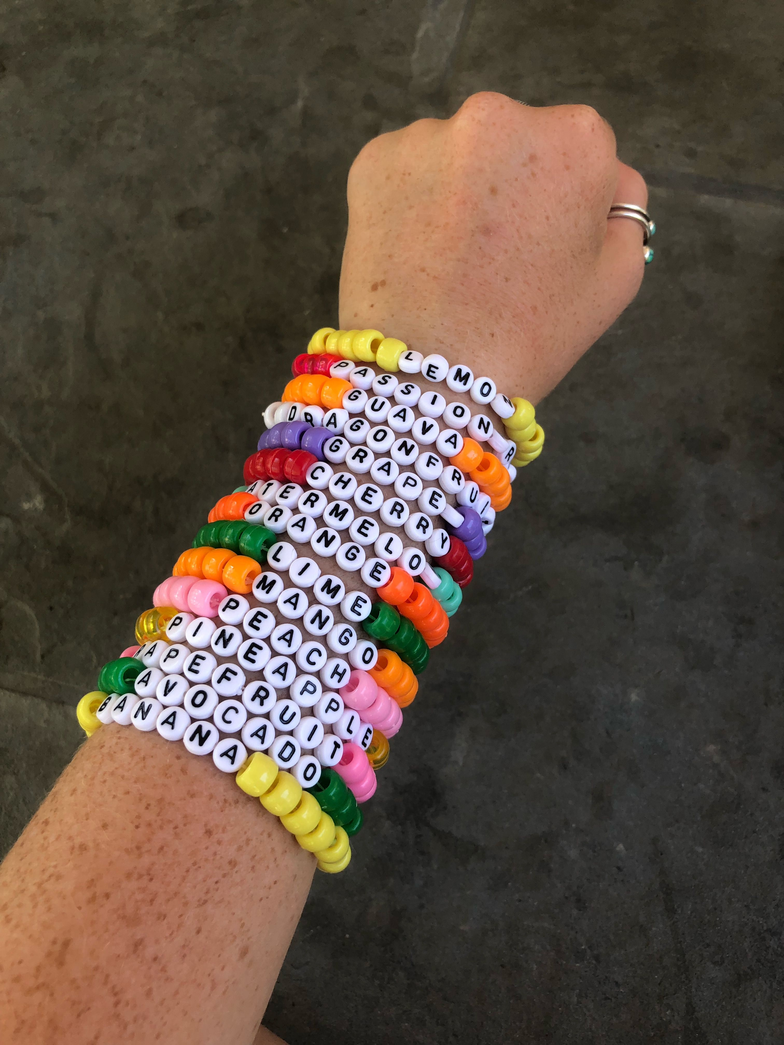 Vsco Bead Bracelets With Words : bracelets, words, Fruit, Bracelet,, Jewelry,, Beaded, Letter, Kandi, Bracelets,, Friendship, Bracelets, Beads
