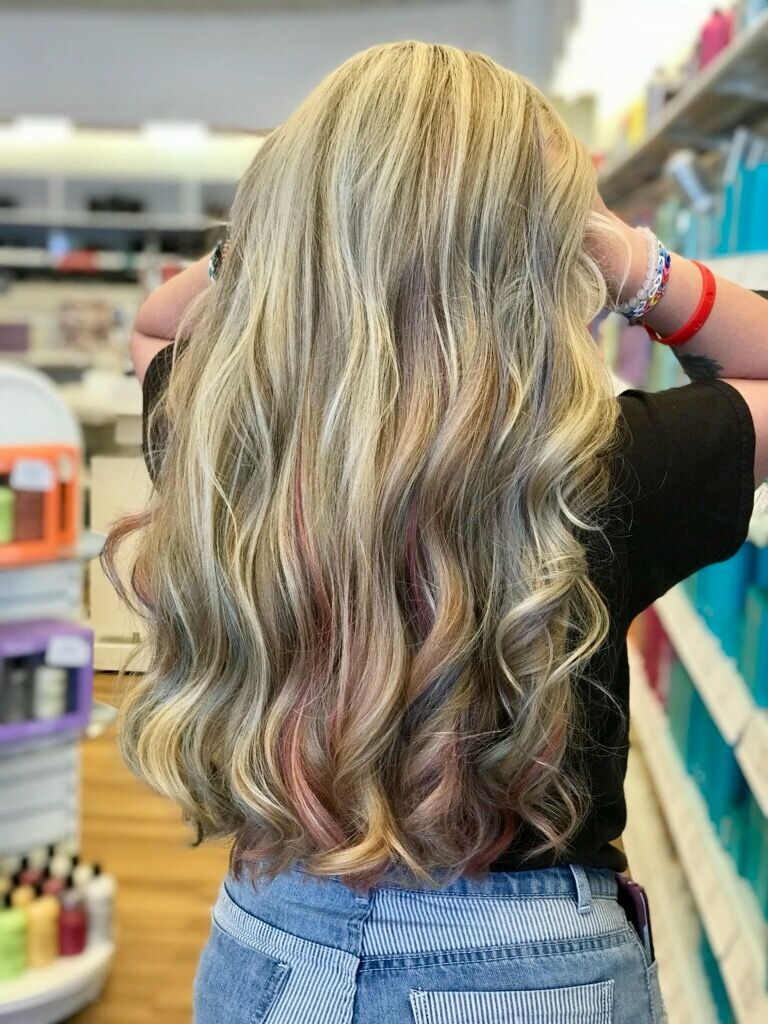 Blonde Highlights All Over With Strips Of The Pastel Colors Pink