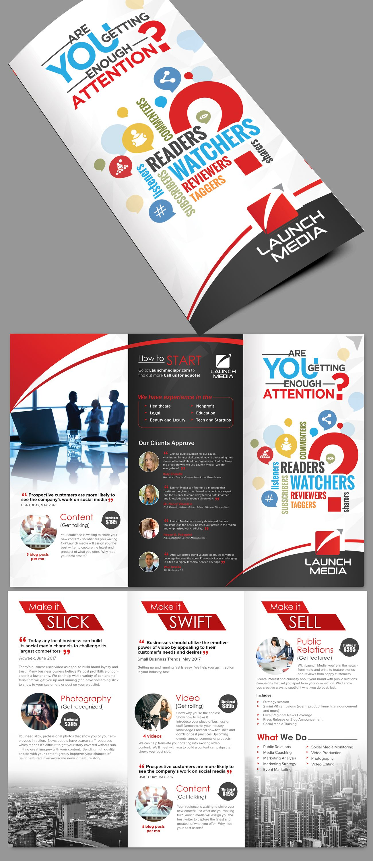 designs sales brochure for social media company brochure contest
