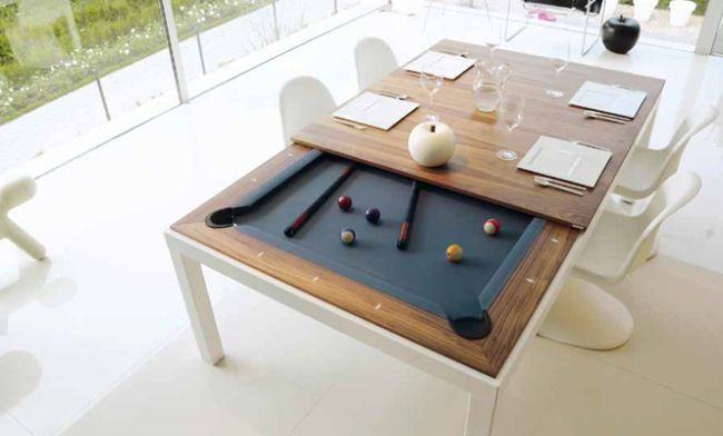 Minimalist Dining Table With A Hidden Pool Table Dining Room
