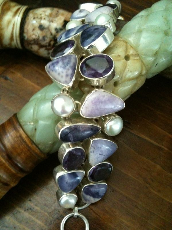 Rare Mixed Gemstone 925 Bracelet (7/18)