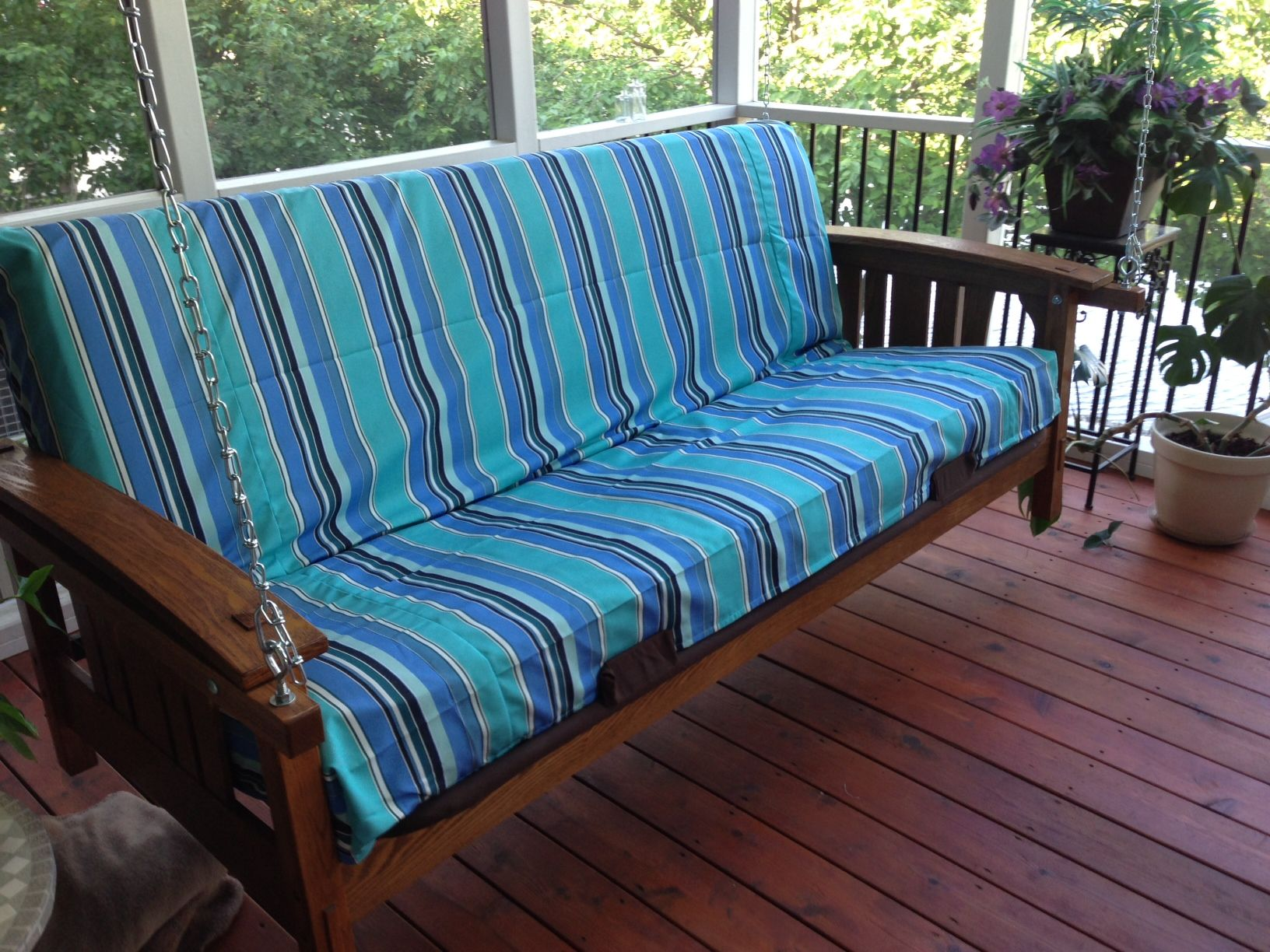 My Futon Porch Swing With Custom Sunbrella Fabric Removable Cover From Futons Net Diy Futon Futon Bed Futon Living Room