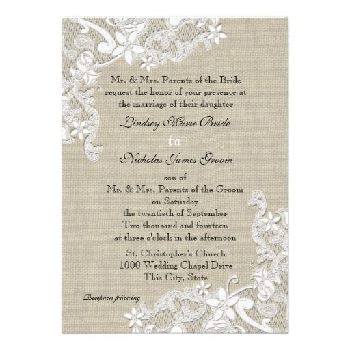 Vintage Burlap And Lace Wedding Invitation Burlap And Lace Wedding