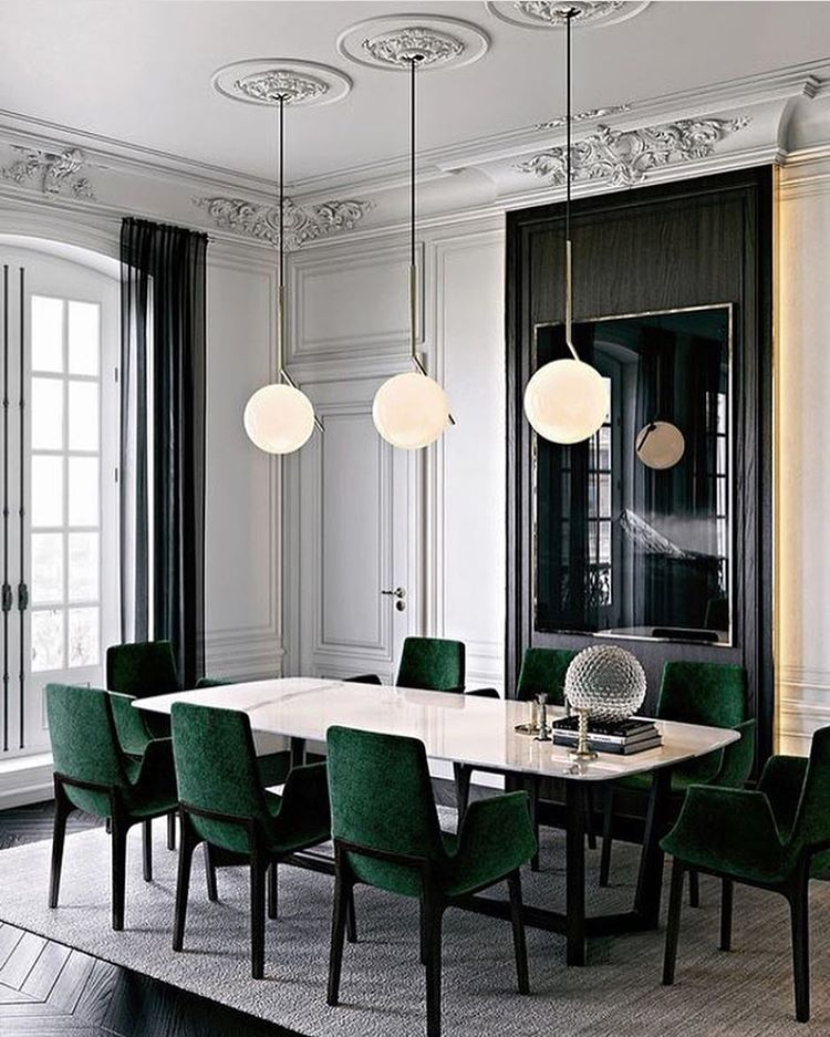 Parisian Chic Dining Room, Emerald Green Velvet Chairs