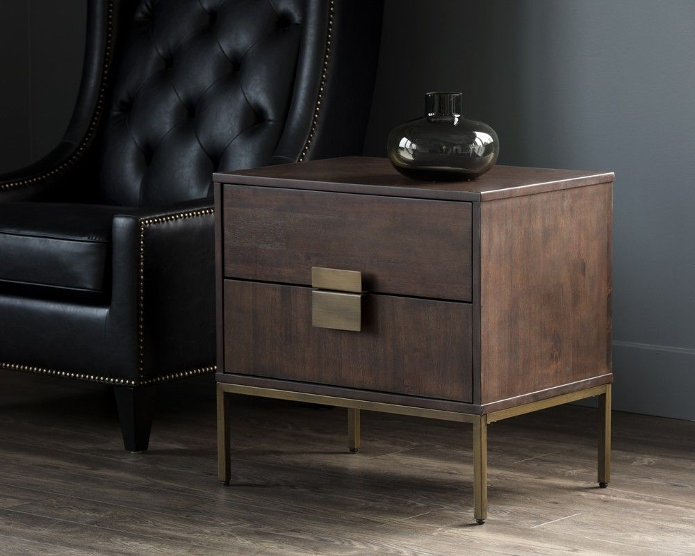 Jade nightstand acacia wood veneer night stand with two soft closing drawers and antique brass hardware