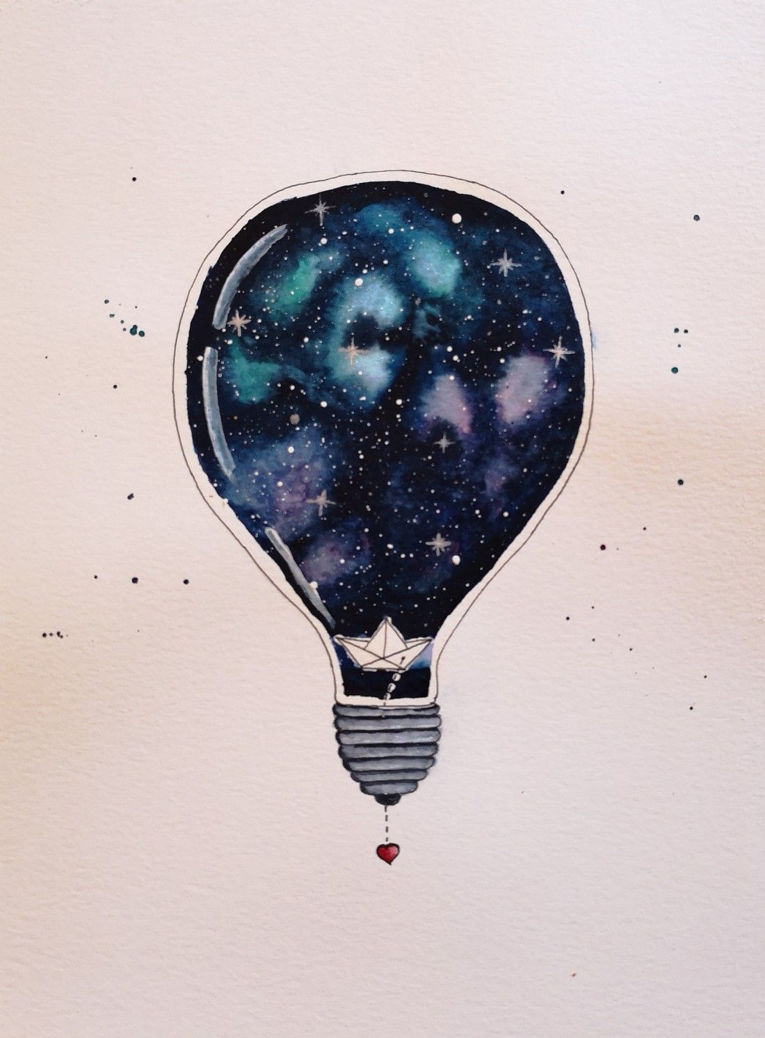 Aquarell Watercolor Lightbulb Galaxy Galaxie Gluhbirne