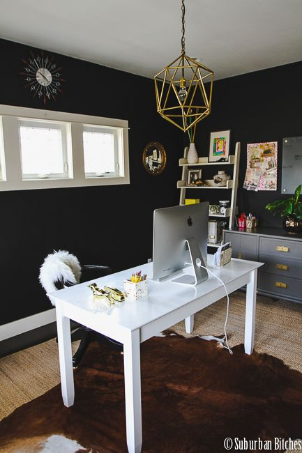 Office painted tricorn black by sherwin williams suburban bitches