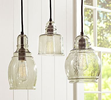 Pottery Barn / Paxton Glass Single Pendants Mouth Blown Glass In An  Eclectic Mix Of Shapes And A Subtle Green Hue