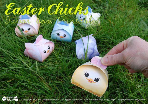Easter chicks favor boxes printable easter decor by papierbonbon easter chicks favor boxes printable easter decor by papierbonbon negle Choice Image