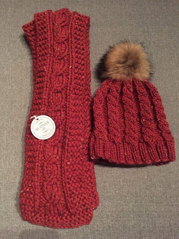 Handknit Baby Alpaca Scarf And Hat With Fox Pom New Reduced Stitch